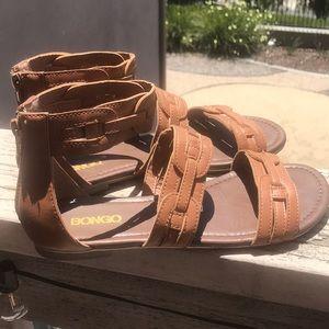 Boardwalk Ankle Strap Sandals with Zipper Back